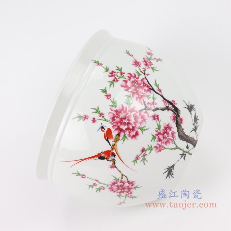 陶瓷器手绘花鸟纹青花鱼缸