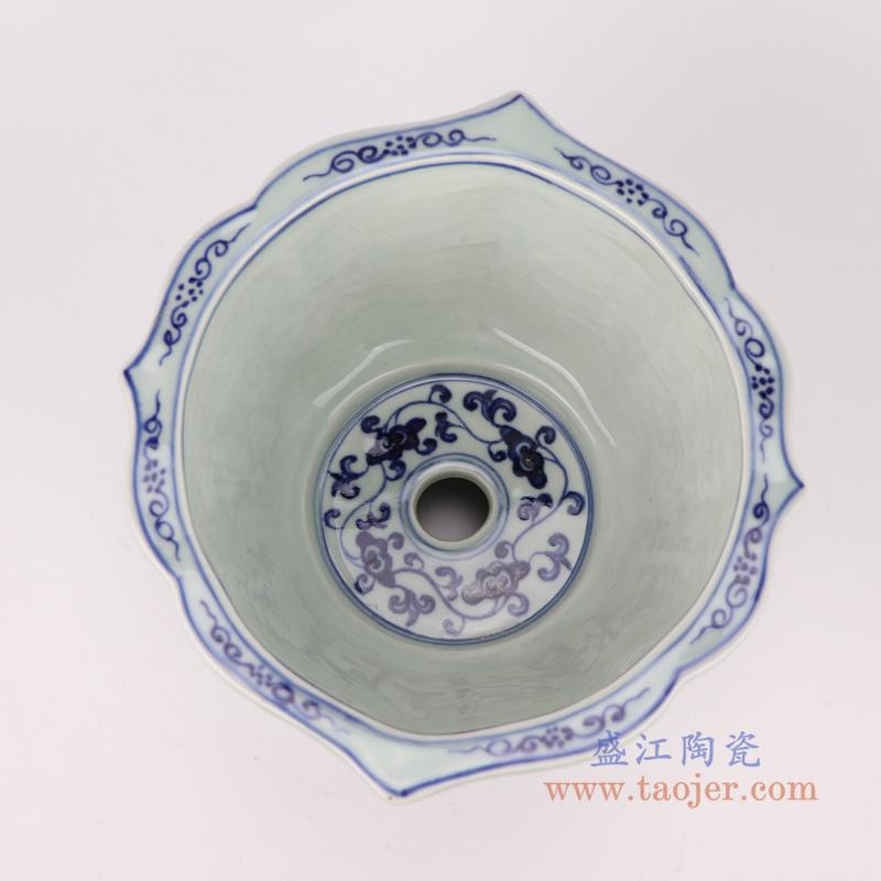 RZSB01 中国风八角青花缠枝仿古花盆