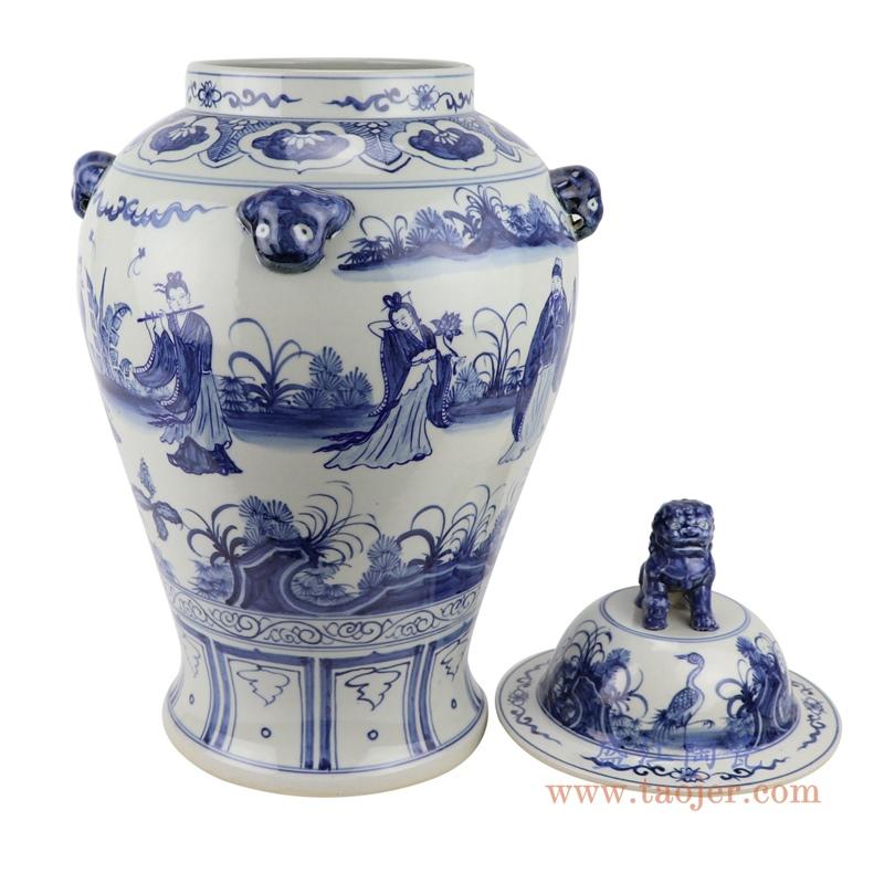 RZFH26    清康熙青花人物仿古将军罐家居老货复古装饰瓷器摆件