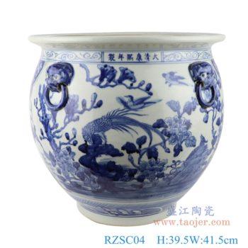 RZSC04  高仿古青花陶瓷器双耳手绘鱼纹鱼缸