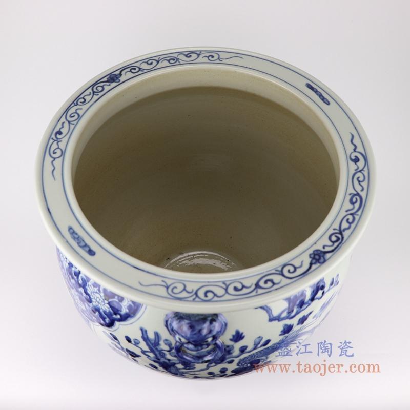 高仿古青花陶瓷器双耳手绘鱼纹鱼缸