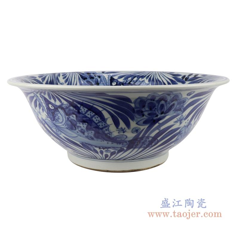 RZSD02 中国风仿古花鱼纹青花陶瓷碗