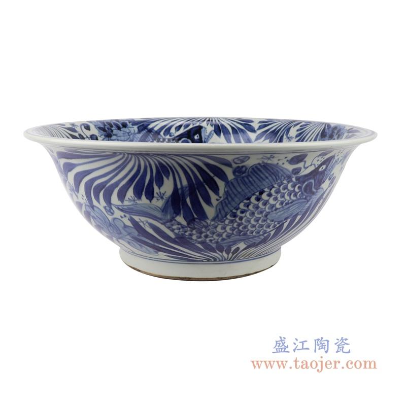 中国风仿古花鱼纹青花陶瓷碗
