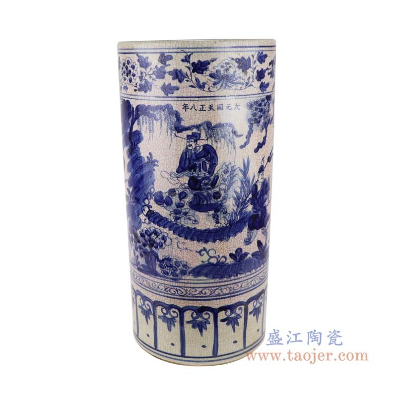 RZSC06-A/B 中国风手绘青花人物图陶瓷伞筒
