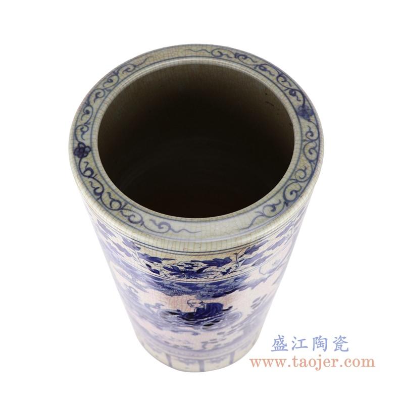 中国风手绘青花人物图陶瓷伞筒
