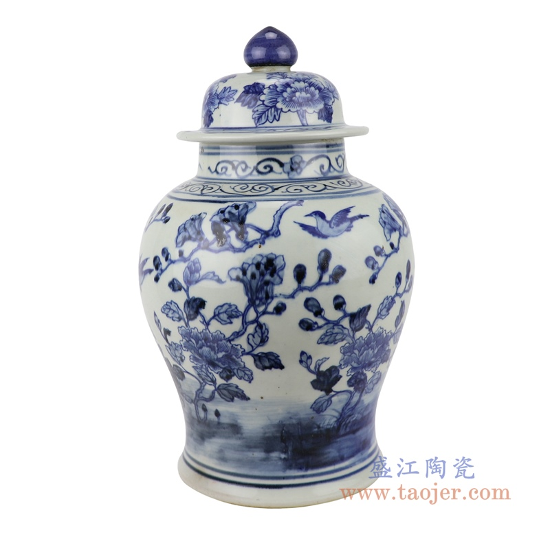 RZSC07 青花中国风手绘花鸟图陶瓷将军罐