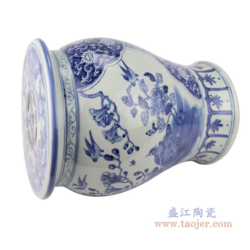 清康熙仿古手绘花鸟图青花陶瓷鼓凳
