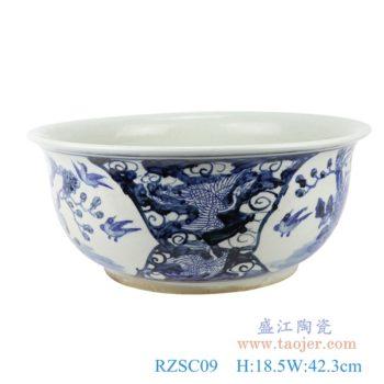 RZSC09  仿古中国风手绘花鸟纹青花陶瓷鱼缸