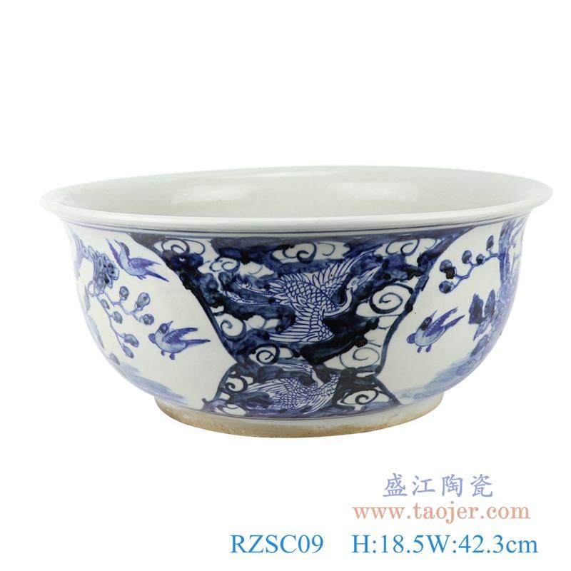 RZSC09  仿古中国风手绘花鸟纹青花陶瓷碗