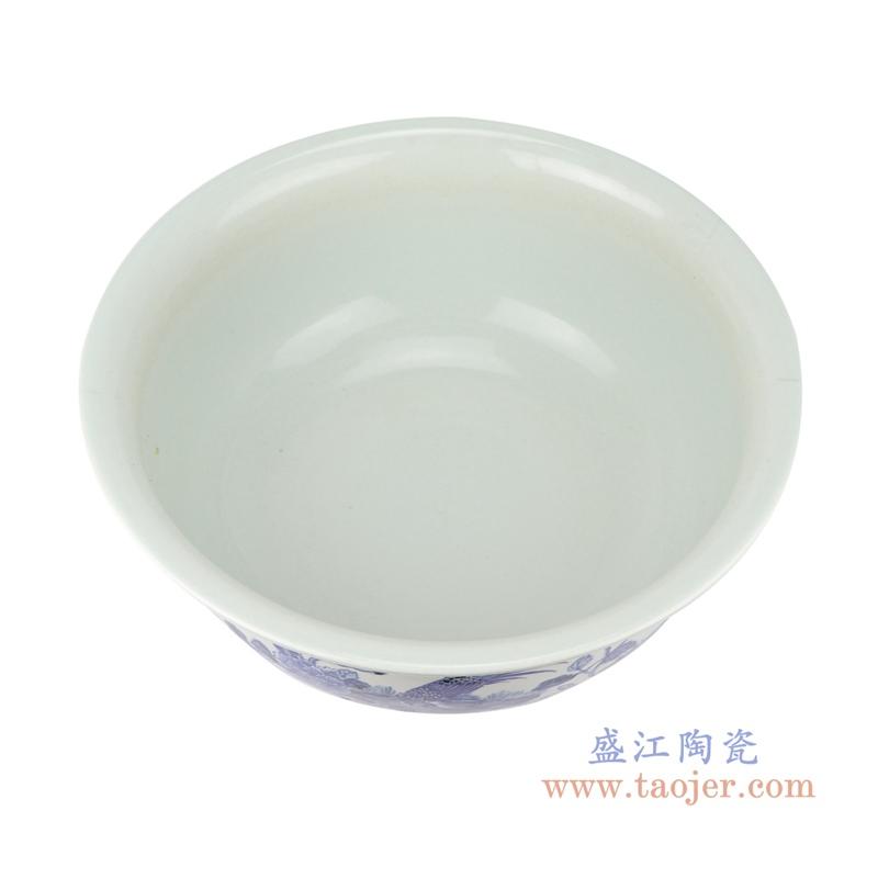 仿古中国风手绘花鸟纹青花陶瓷鱼缸