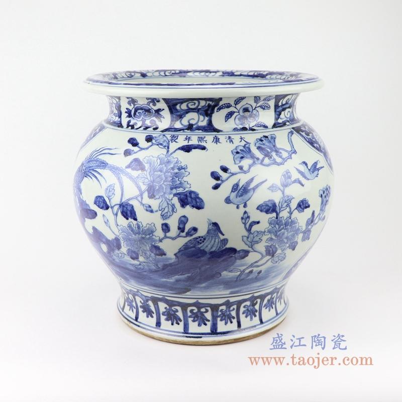 高仿古青花陶瓷器手绘花鸟纹鱼缸