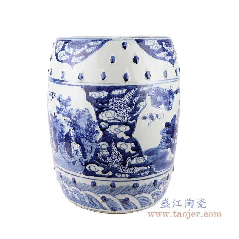 景德镇仿古青花手绘人物图陶瓷鼓凳