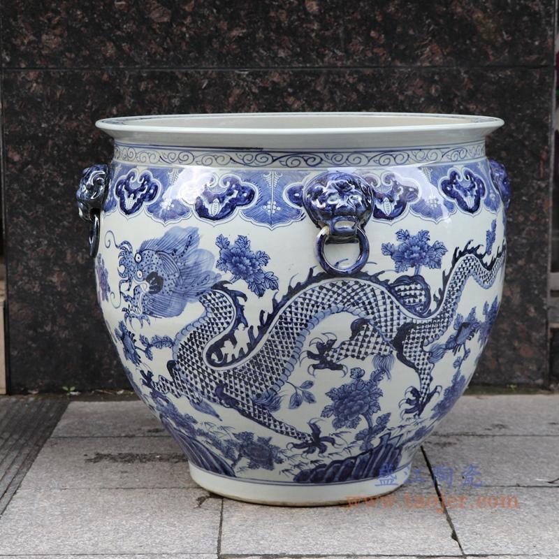 RZSC13-A/B 景德镇高仿古青花陶瓷器双耳手绘龙纹鱼缸