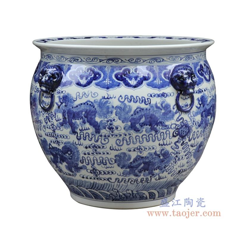 景德镇高仿古青花陶瓷器双耳手绘龙纹鱼缸