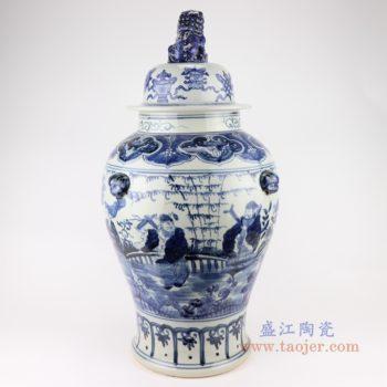 RZSC14-A/B/C 景德镇青花中国风手绘人物图陶瓷将军罐