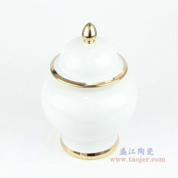 RYKB131  欧式带盖白釉镀金将军罐储物密封瓷罐