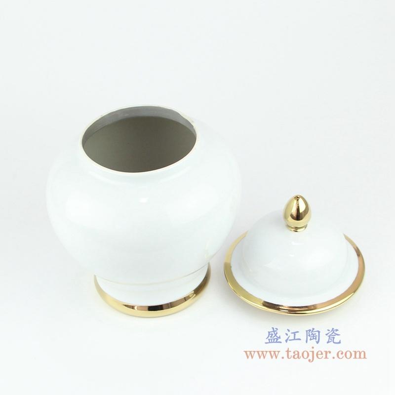 欧式带盖白釉镀金将军罐储物密封瓷罐