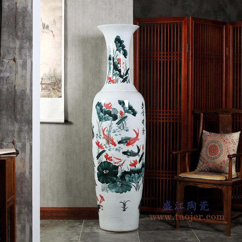 手绘牡丹花开富贵落地大花瓶现代客厅装饰品