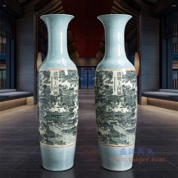 RZRi11-A仿古裂纹清明上河图大花瓶摆件