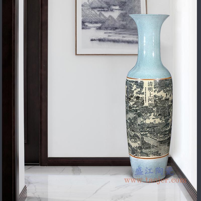 仿古裂纹清明上河图大花瓶摆件