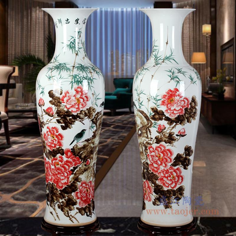 手绘陶瓷大花瓶新房酒店客厅乔迁青花山水牡丹落地装饰摆件