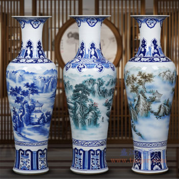 RZRi47-A 手绘山水荷花客厅落地陶瓷大花瓶 装饰品摆件
