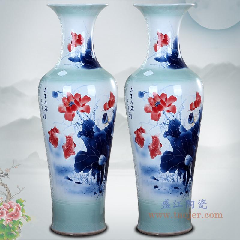 落地客厅手绘雕刻报春图落地大花瓶