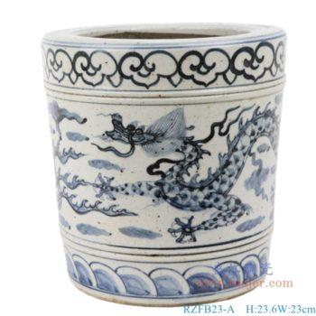 RZFB23-A/B  青花手绘陶瓷双龙戏珠图筒仿古摆件