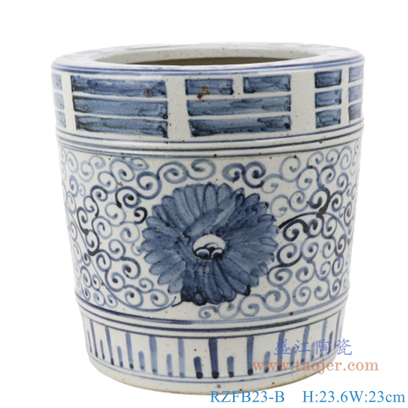 RZFB23-A/B 青花手绘陶瓷双龙戏珠图筒仿古岁寒摆件