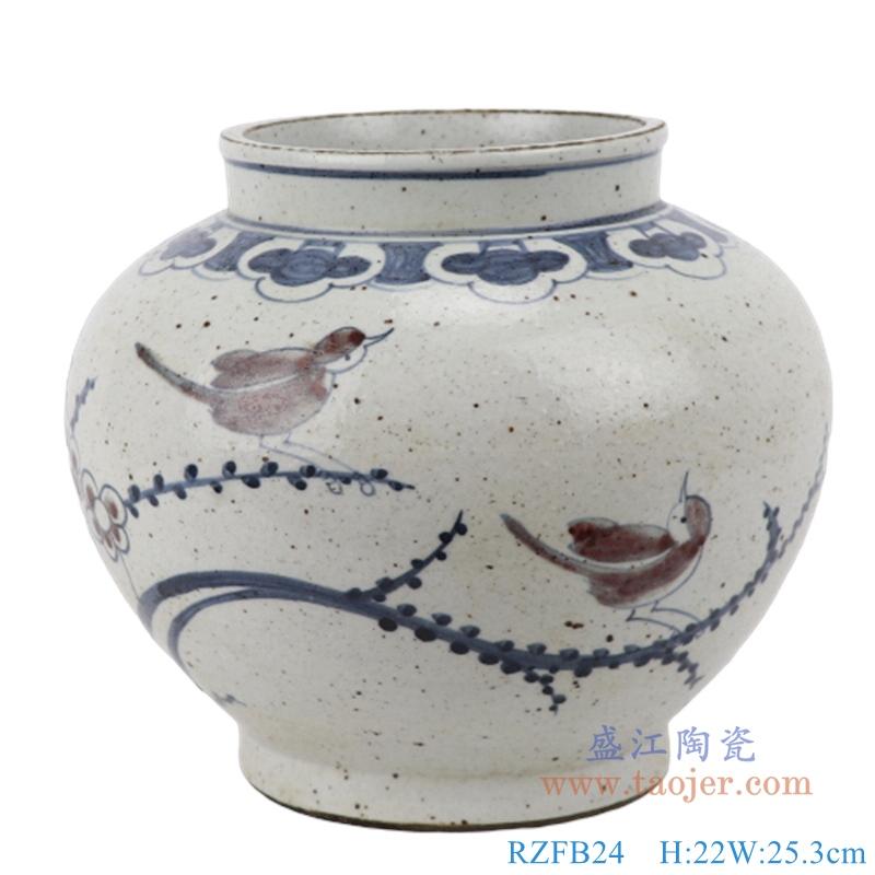 RZFB24  手工手绘复古青花中式茶叶罐仿古花鸟陶瓷