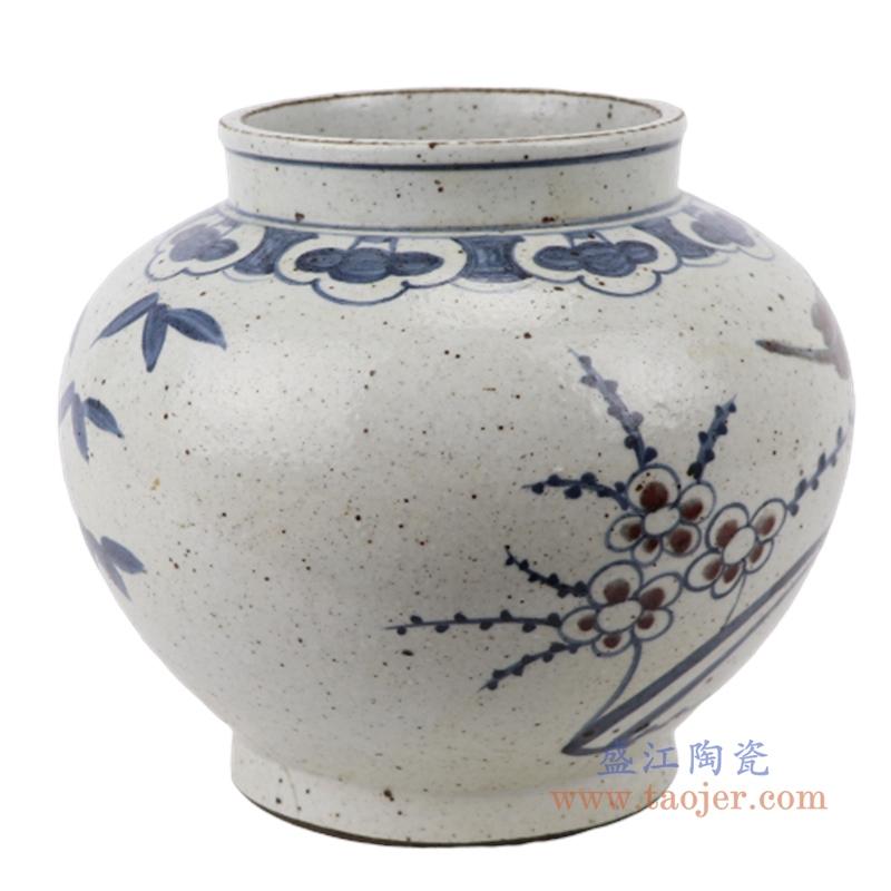 手工手绘复古青花中式茶叶罐仿古花鸟陶瓷