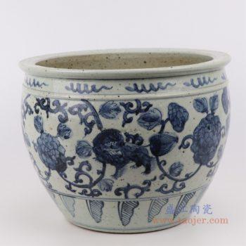 RZFB25  手绘仿古青花开片裂纹釉金鱼缸瓷缸 陶瓷摆件