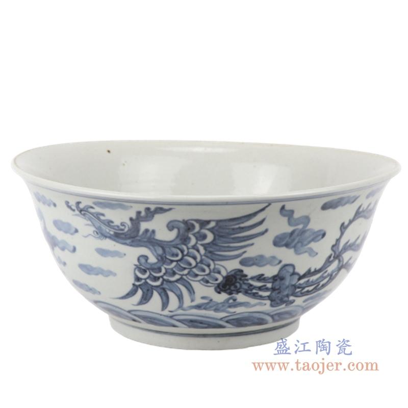 中国风青花手绘龙飞凤舞大碗仿古瓷器