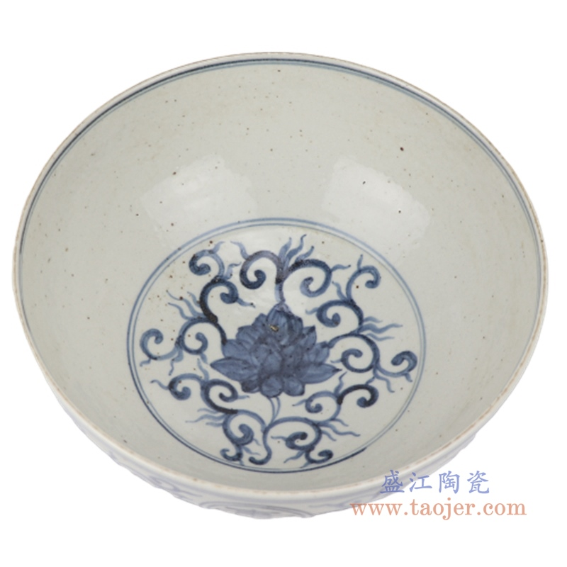 手绘青花点工缠枝莲纹寿图茶陶瓷碗