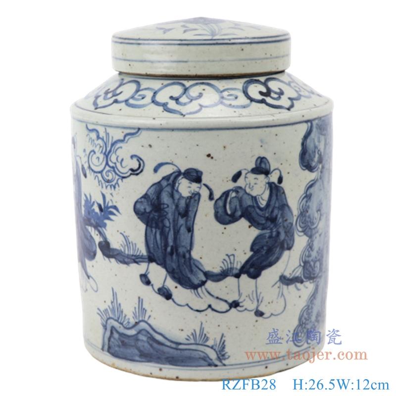 RZFB28  中式手绘青花陶瓷仿古人物图茶罐