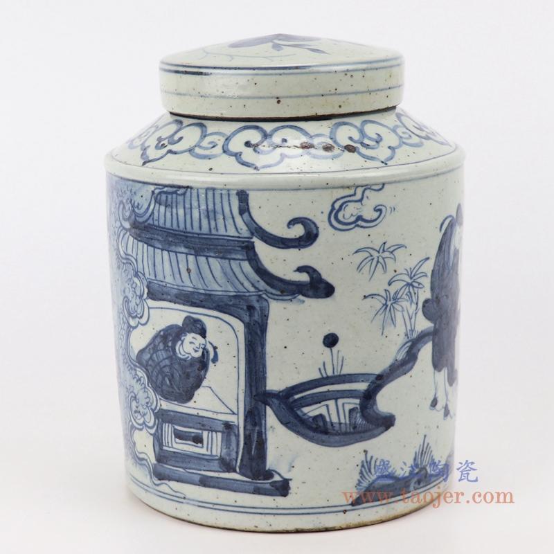 中式手绘青花陶瓷仿古人物图茶罐