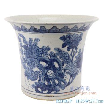 RZFB29  花鸟图中式手绘青花陶瓷仿古花盆