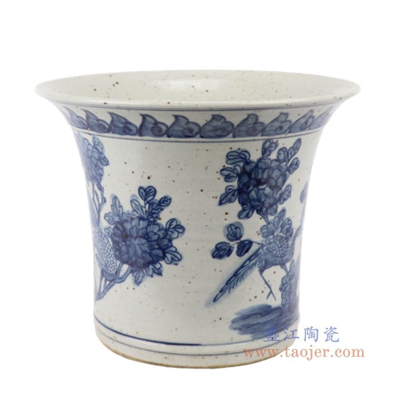 RZFB29  花开富贵中式手绘青花陶瓷仿古花盆
