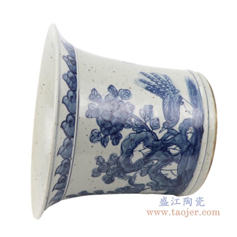 花开富贵中式手绘青花陶瓷仿古花盆