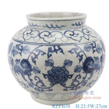 RZFB30 仿古手绘青花缠枝连纹图陶瓷罐