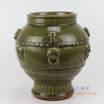 RZQJ12 末釉浮雕手工颜色釉双耳坛罐仿古做旧瓷器