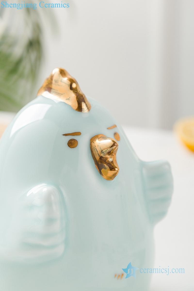 影青釉陶瓷装饰镀金雕塑鸡小鸟