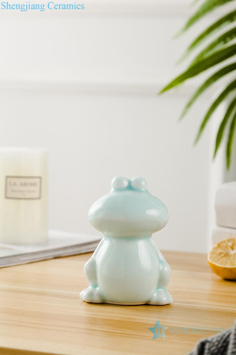 影青釉陶瓷装饰雕塑青蛙三件套