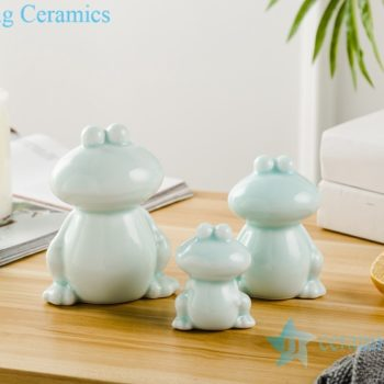 RZSH04  影青釉陶瓷装饰雕塑青蛙三件套