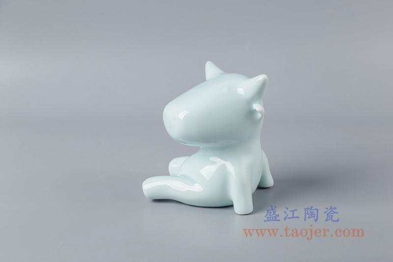 RZSH08  影青釉雕塑坐地牛座青牛