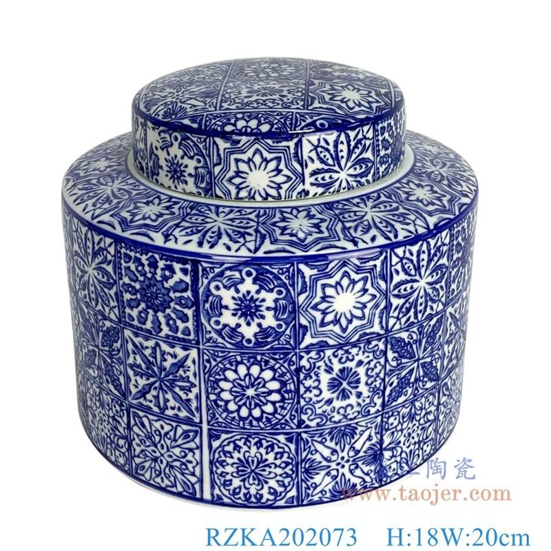 RZKA202073 直筒青花方格子花卉纹矮圆罐子