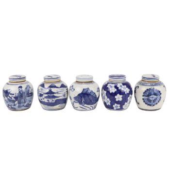 RZKT37-A/B/C/D/E 青花瓷五种不同设计的陶罐