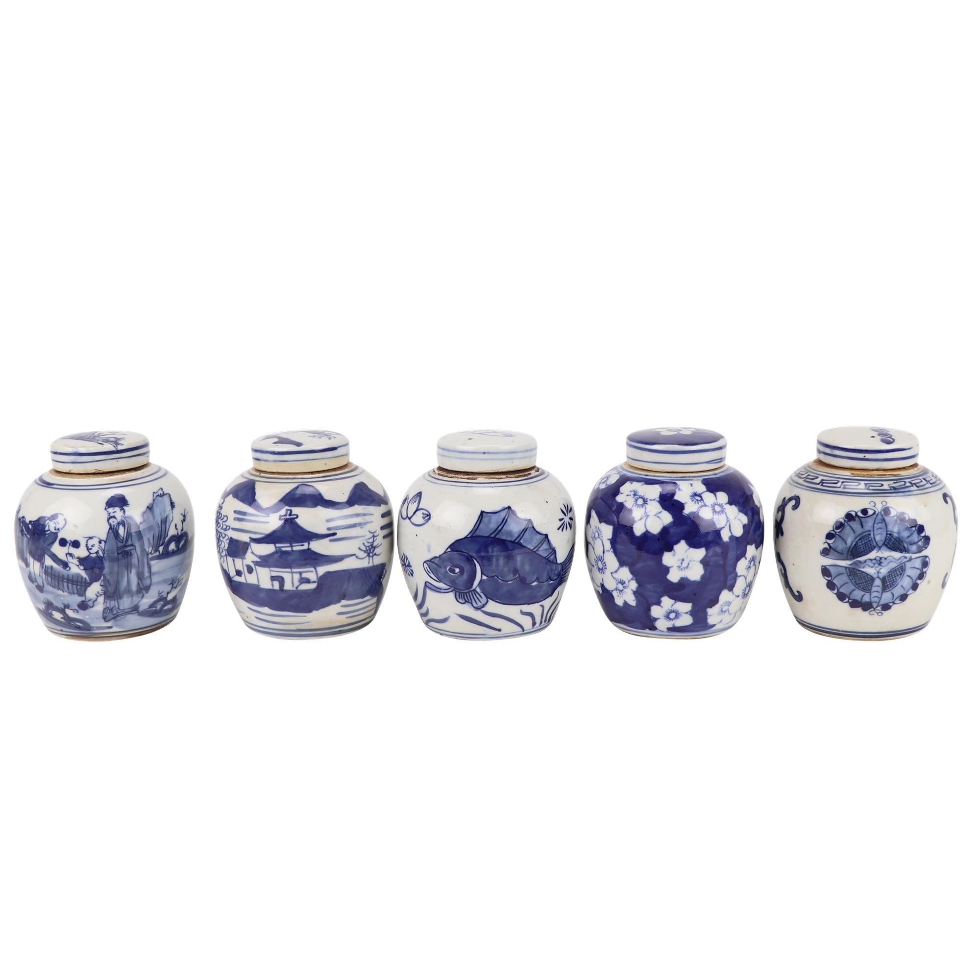 RZKT36-A/B/C/D/E 青花瓷五种不同设计的陶罐