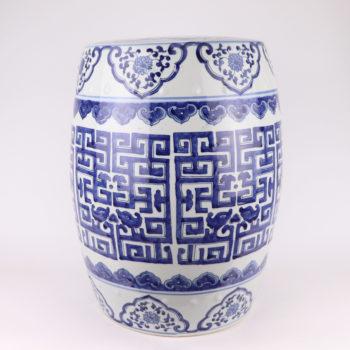 RZMV42   陶瓷手绘青花吉祥花纹瓷墩茶几草龙陶瓷鼓凳