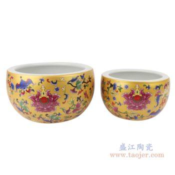 RZSE01-S/L   金色珐琅彩福寿双全陶瓷鱼缸
